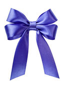 Blue satin bow — Stock Photo