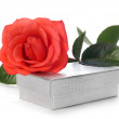 Scarlet rose and silver box — 图库照片
