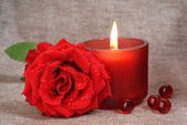 Red rose and red candle — Stock Photo