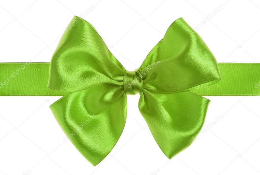 Green gift satin ribbon bow on white background — Stock Photo #1761318