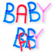 Foto Stock: Balloon word baby