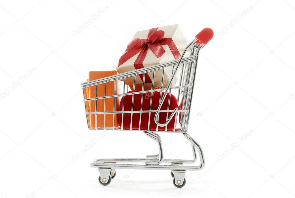 Isolated shopping cart full of gift boxes — Stock Photo #1260043