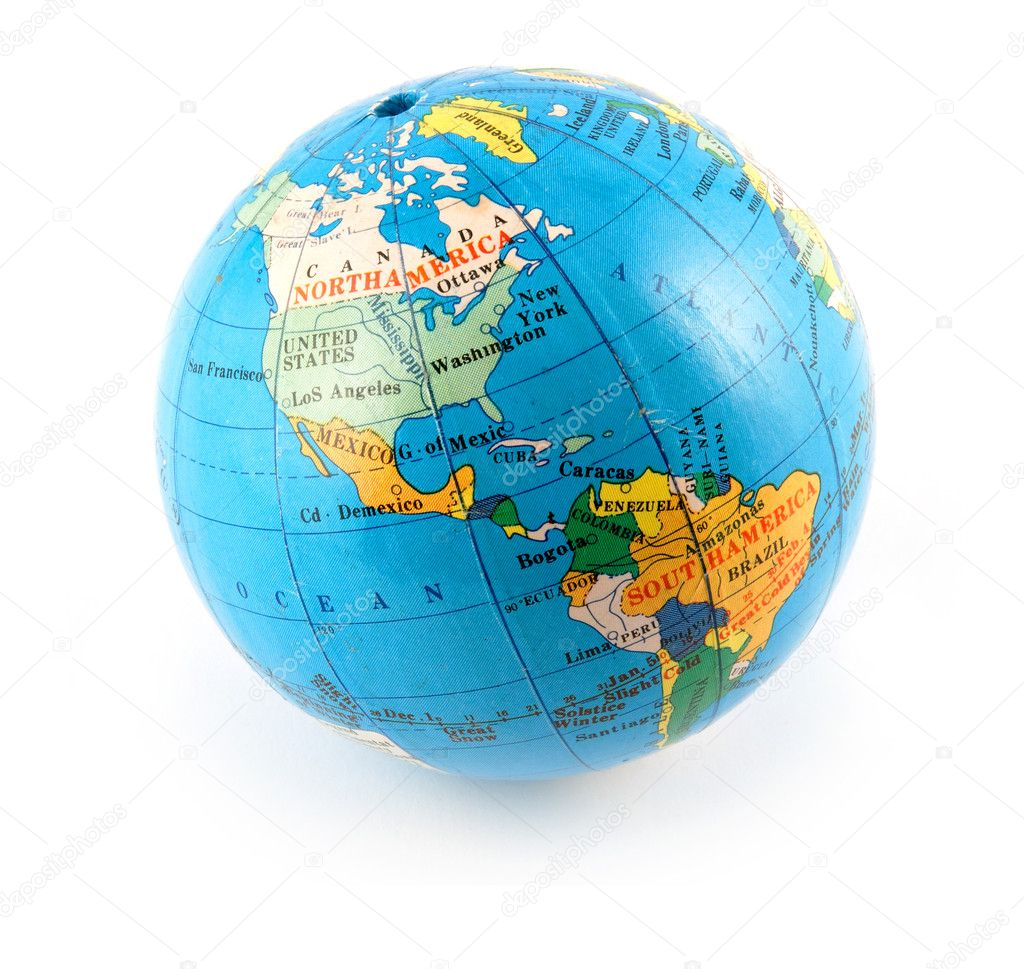 Small terrestrial globe americas side isolated on white — Stock Photo #1260275