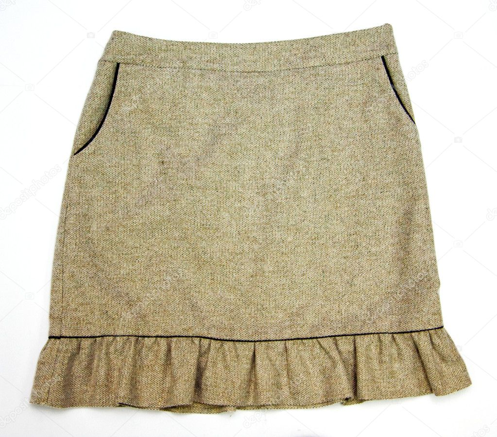 Brown women skirt with pockets isolated on white — Stock Photo #1227880