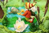 Torta decorata con personaggi pinocio — Foto Stock
