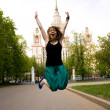 Pretty student in front of the Moscow St — Stock Photo