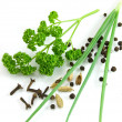 Stock Photo: Greens and spices isolated on the white