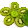 Slice of kiwi fruit on white background — Stock Photo