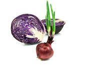 Cabbage and Green onion isolated on whit — Stock Photo