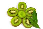 Slice of kiwi fruit on white background — Stock Photo
