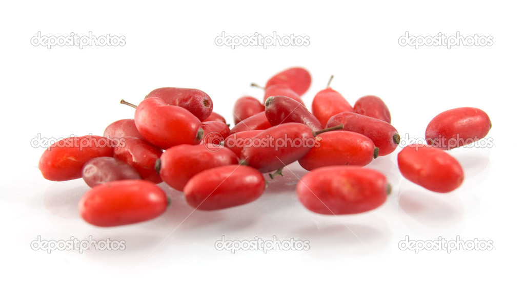 Red wet  barberry of dogwood on white background — Stock Photo #1435191