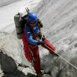 Alpinist on glacier. — Stock Photo