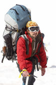 Alpinist in the Caucasus mountains — Stock Photo
