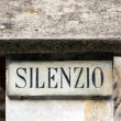 Silence inscription — Stockfoto
