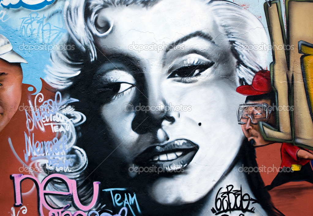 Urban graffiti wall with the classic pop icon of marilyn monroe  Stock Photo #1235617