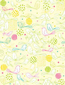Vector seamless pattern displaying dots and cute baby birds. — Vetor de Stock