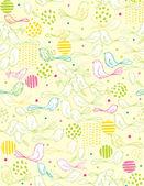 Modèle sans couture de vecteur affichant les points et les oiseaux de bébé mignon. — Vecteur