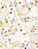 Jardin fleuri et petits amis — Vecteur