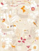 Blomsterträdgård och små vänner — Stockvektor