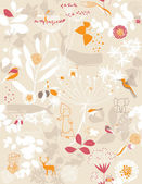 çiçek bahçesi ve küçük arkadaşları — Stok Vektör