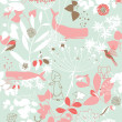 Vector de stock : Floral Garden And Little Friends V
