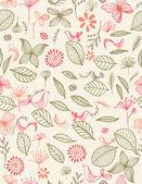 Botanik bahçesi ve kuşlar — Stok Vektör