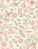 Giardino botanico e uccelli — Vettoriale Stock