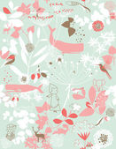 Floral Garden And Little Friends V — Vector de stock