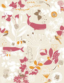 Floral Garden And Little Friends VI — Vector de stock