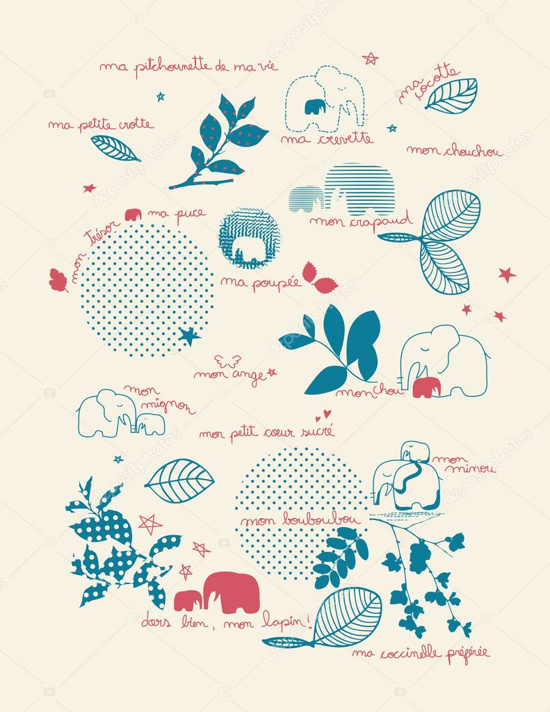 Vector displaying French terms of endearment and cute baby graphics. — Stock Vector #1268084