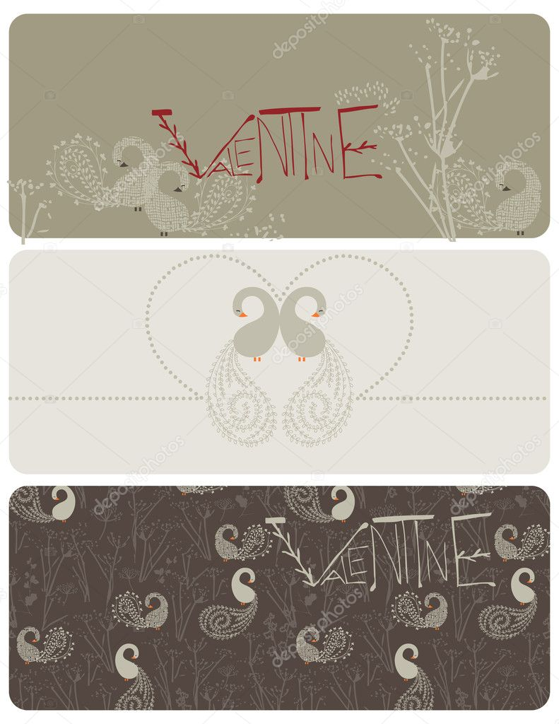 Vector graphic set displaying three different graphics for valentine's day.  Stock Vector #1848347