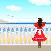 The little girl and sea — Stock Vector