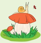 Snail, Mushroom, Ladybird — Stock Vector