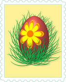 Easter egg - post stamp — Stock Photo