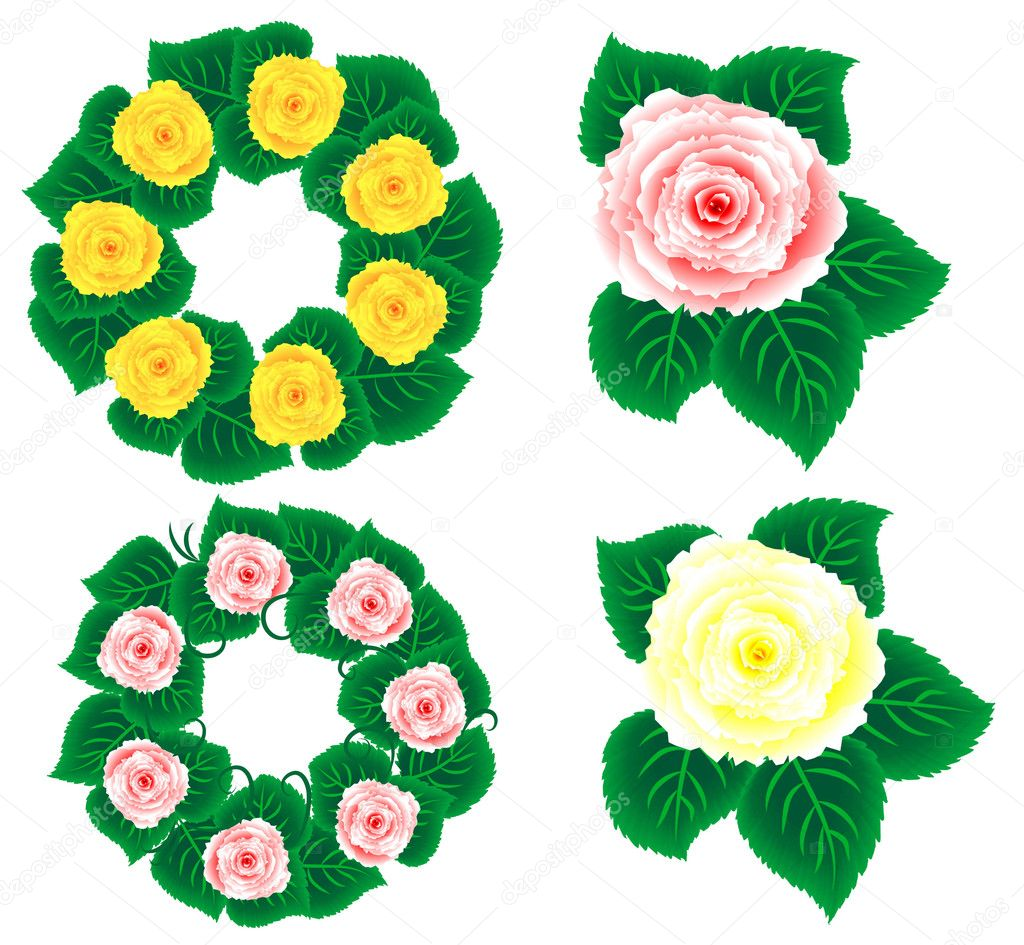 Flower Sampler - isolated flower single and as wreaths  Stock Photo #1230514