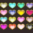 Glossy buttons like hearts — Stock Vector