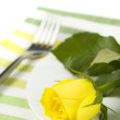 Place setting with yellow rose — Stock Photo