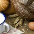 Royalty-Free Stock Photo: Wheat, bread, milk and eggs