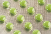 Close up of green pills — Stock Photo