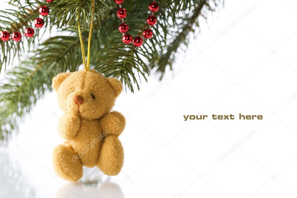 Teddy bear and Christmas decorations on white background — Stock Photo #1286071