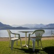 Rest area on the swiss mountains lake — Stock Photo