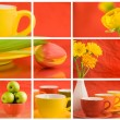 Royalty-Free Stock Photo: Beautiful collage on red