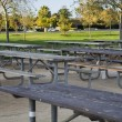 Empty tables in the park - Foto Stock