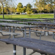 Empty tables in the park - Stock Photo