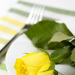 Place setting with yellow rose — Stock Photo #1703440