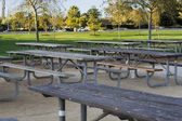 Empty tables in the park — Stock Photo