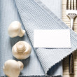 Fork and mushrooms on blue napkin — Stock Photo #1909317