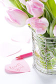 Love message and tulips — Stock Photo