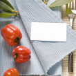 Stock Photo: Fork and vegetabels on blue napkin