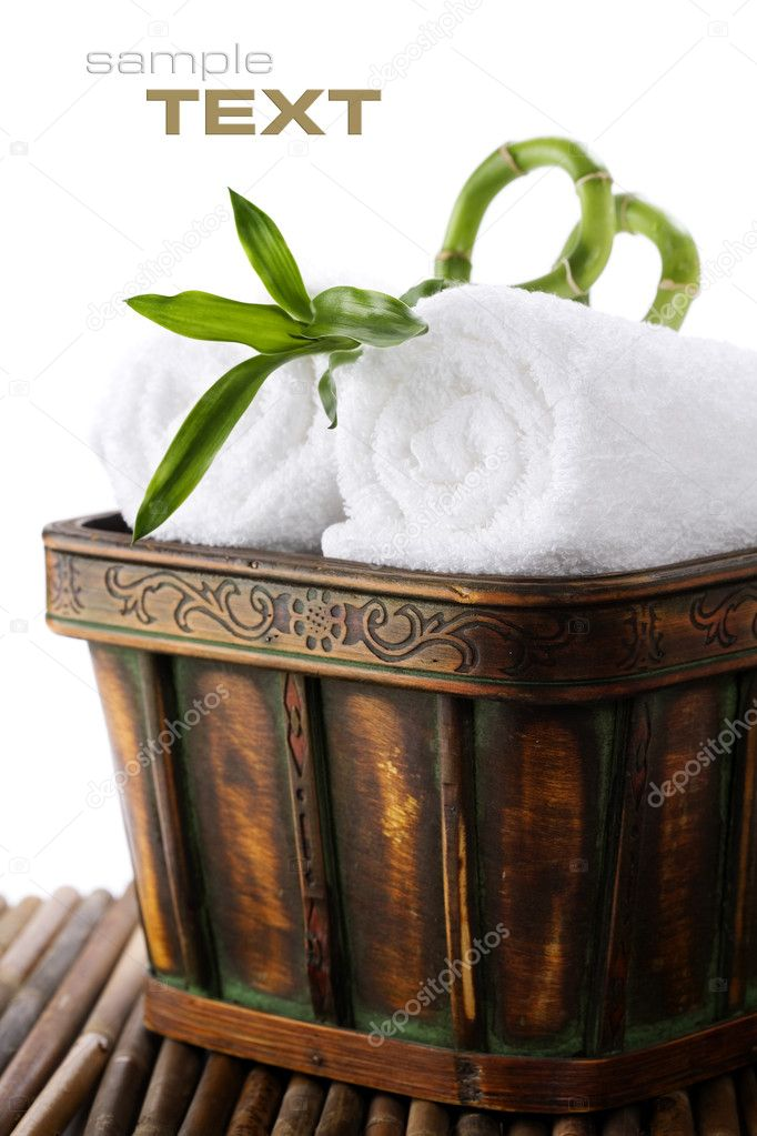 White towels with green bamboo with sample text  Stock Photo #2633228
